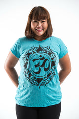 Plus Size Sure Design Women's Infinitee Ohm T-Shirt Turquoise