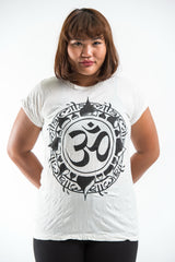Plus Size Sure Design Women's Infinitee Ohm T-Shirt White