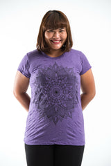 Plus Size Sure Design Women's Lotus Mandala T-Shirt Purple