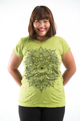 Plus Size Sure Design Women's Lotus Mandala T-Shirt Lime