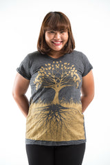 Plus Size Sure Design Women's Tree of Life T-Shirt Gold on Black