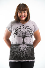 Plus Size Sure Design Women's Tree of Life T-Shirt Gray