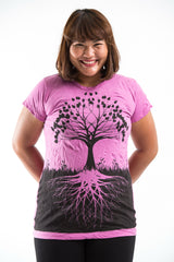 Plus Size Sure Design Women's Tree of Life T-Shirt Pink