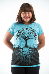 Plus Size Sure Design Women's Tree of Life T-Shirt Turquoise