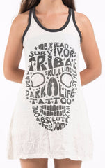 Sure Design Women's Tribal Skull Tank Dress Black on White