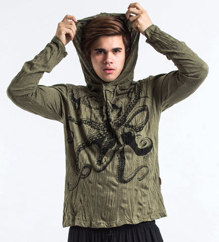 Sure Design Unisex Octopus Hoodie Green