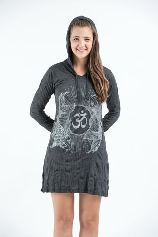 Sure Design Women's Ohm and Koi fish Hoodie Dress Silver on Black