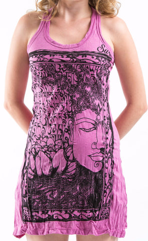 Sure Design Women's Sanskrit Buddha Tank Dress Pink