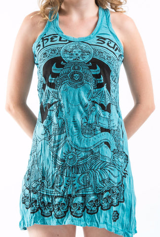 Sure Design Women's Batman Ganesh Tank Dress Turquoise