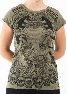 Sure Design Women's Batman Ganesh T-Shirt Green
