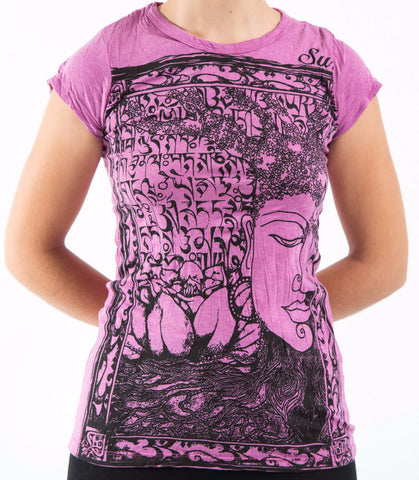 Sure Design Women's Sanskrit Buddha T-Shirt Pink