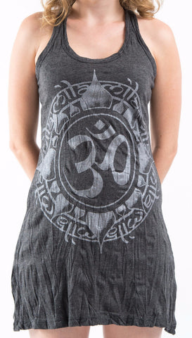 Sure Design Women's Infinitee Ohm Tank Dress Silver on Black