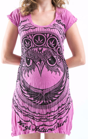 Sure Design Women's Weed Owl Dress Pink
