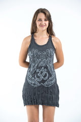Sure Design Women's Ohm hands Tank Dress Silver on Black