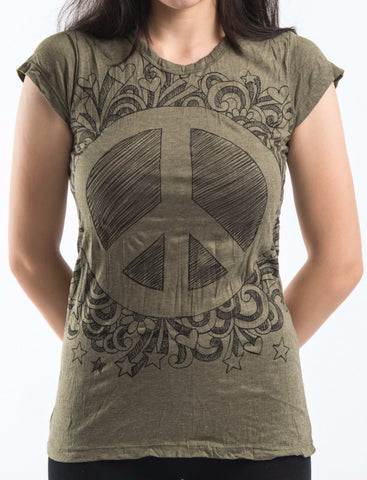 Sure Design Women's Peace Sign T-Shirt Green