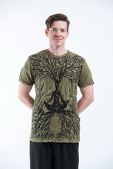 Sure Design Mens Ohm Meditation Tree T-Shirt Green