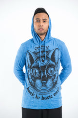 Sure Design Unisex Three Eyed Cat Hoodie Blue