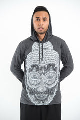 Sure Design Unisex Buddha Head Hoodie Silver on Black