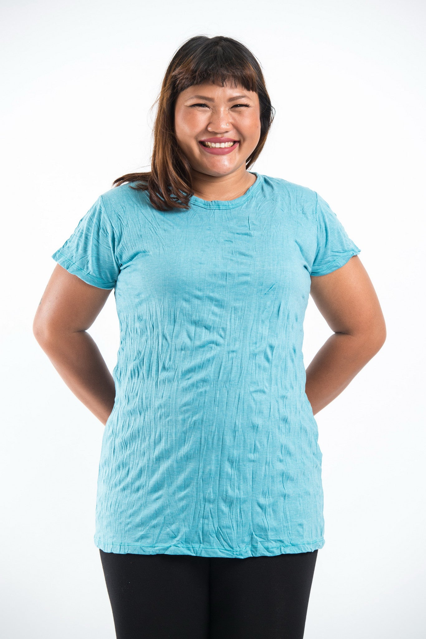 new list new arrival best price Plus Size Sure Design Women's Blank T-Shirt Turquoise