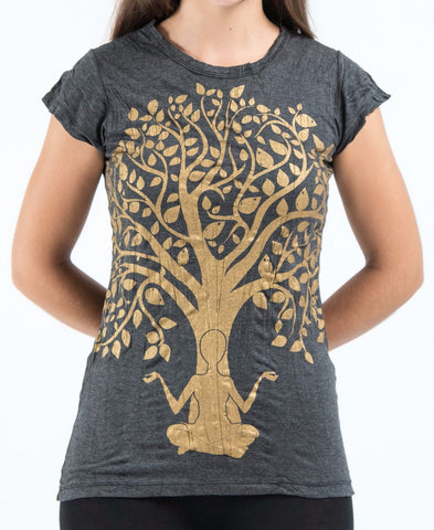 Sure Design Women's Meditation Tree T-Shirt Gold on Black