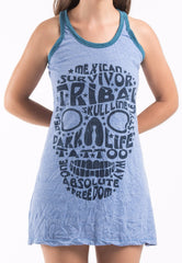 Sure Design Women's Tribal Skull Tank Dress Blue