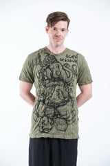 Sure Design Mens Lord Ganesh Sketch T-Shirt Green