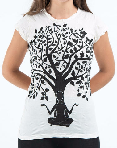 Sure Design Women's Meditation Tree T-Shirt White
