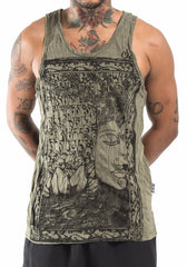 Sure Design Men's Sanskrit Buddha Tank Top Green