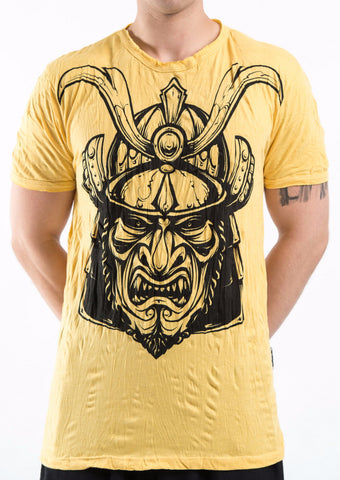 Sure Design Men's Kabuto Samurai Mask T-Shirt Yellow
