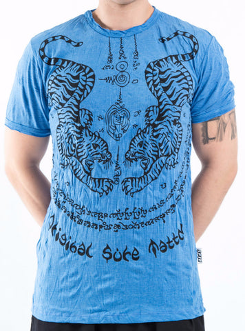 Sure Design Men's Thai Tattoo T-Shirt Blue