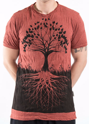 Sure Design Men's Tree Of Life T-Shirt Brick