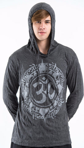 Sure Design Unisex Infinitee Ohm Hoodie Silver on Black