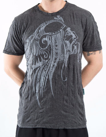 Sure Design Men's Indian Chief T-Shirt Silver on Black