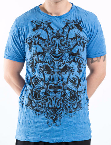 Sure Design Men's Evil Dragon Mask T-Shirt Blue