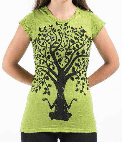 Sure Design Women's Meditation Tree T-Shirt Lime