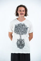 Sure Design Mens Celtic tree T-Shirt White