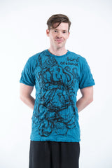 Sure Design Mens Lord Ganesh Sketch T-Shirt Denim Blue
