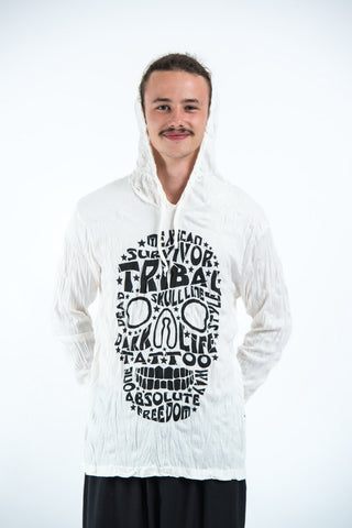Sure Design Unisex Tribal Skull Hoodie White
