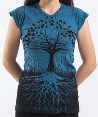Sure Design Women's Tree of Life T-Shirt Denim Blue