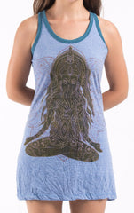 Sure Design Women's Ganesh Mantra Tank Dress Blue