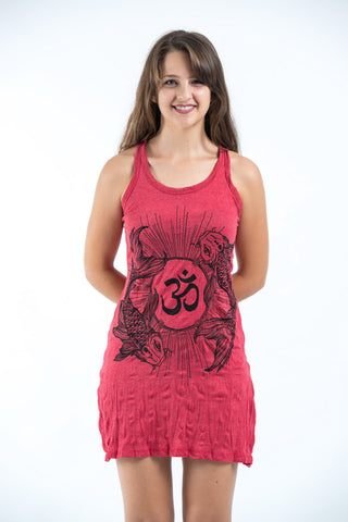 Sure Design Women's Ohm and Koi fish Tank Dress Red
