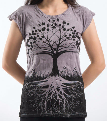 Sure Design Women's Tree of Life T-Shirt Gray