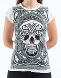 Wholesale Sure Design Women's Trippy Skull T-Shirt White - $8.00