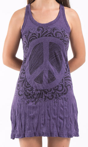 Sure Design Women's Peace Tank Dress Purple