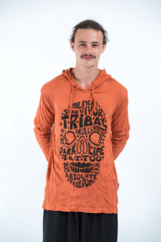 Sure Design Unisex Tribal Skull Hoodie Orange