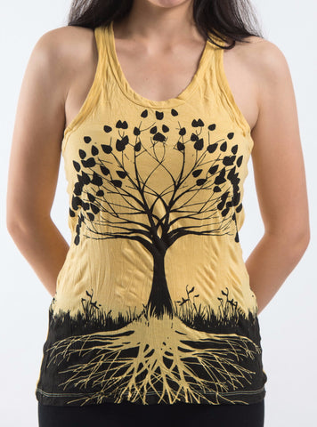 Sure Design Women's Tree of Life Tank Top Yellow