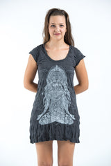 Sure Design Women's Ganesh Mantra Dress Silver on Black
