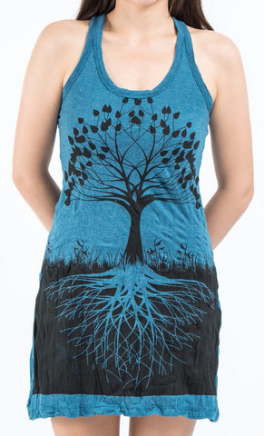 Sure Design Women's Tree Of Life Tank Dress Denim Blue
