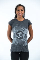 Sure Design Women's Ohm and Koi fish T-Shirt Silver on Black