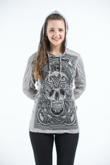 Sure Design Unisex Trippy Skull Hoodie Gray